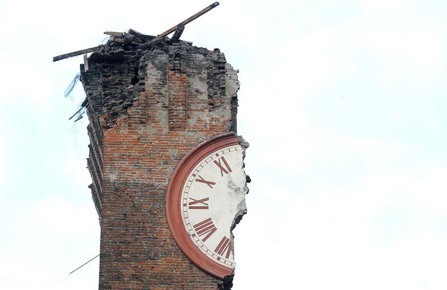 Collapsed clock tower